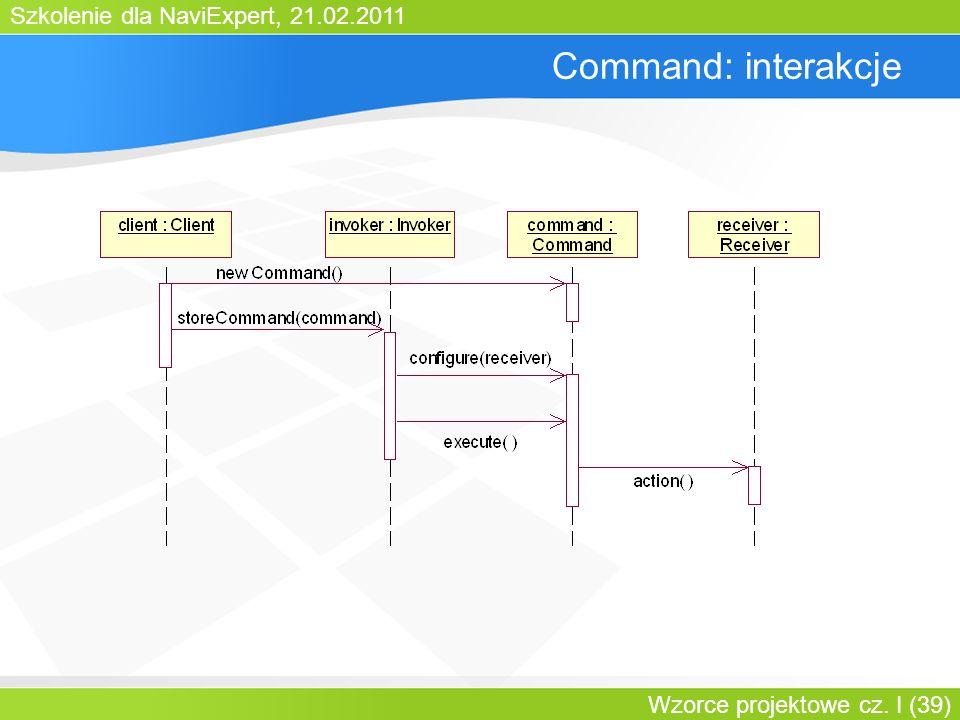 Szkolenie dla NaviExpert, 21.02.2011 Wzorce projektowe cz. I (39) Command: interakcje