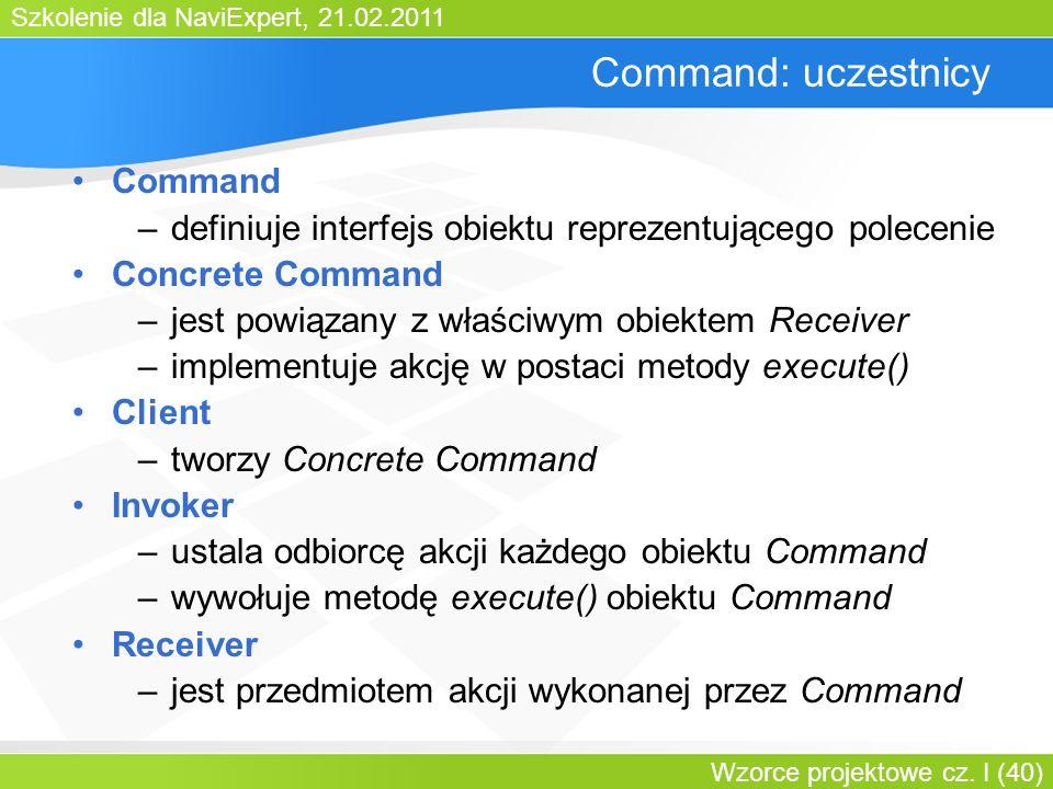 Szkolenie dla NaviExpert, 21.02.2011 Wzorce projektowe cz. I (40) Command: uczestnicy Command –definiuje interfejs obiektu reprezentującego polecenie