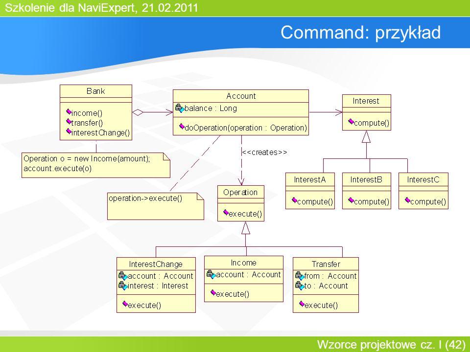 Szkolenie dla NaviExpert, 21.02.2011 Wzorce projektowe cz. I (42) Command: przykład