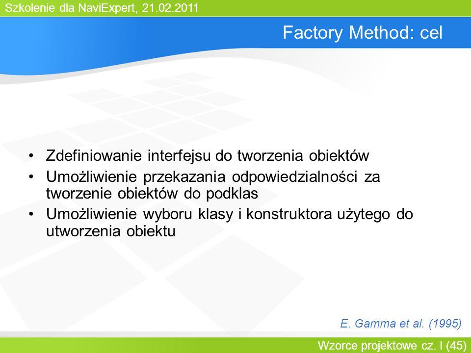 Szkolenie dla NaviExpert, 21.02.2011 Wzorce projektowe cz. I (45) Factory Method: cel Zdefiniowanie interfejsu do tworzenia obiektów Umożliwienie prze