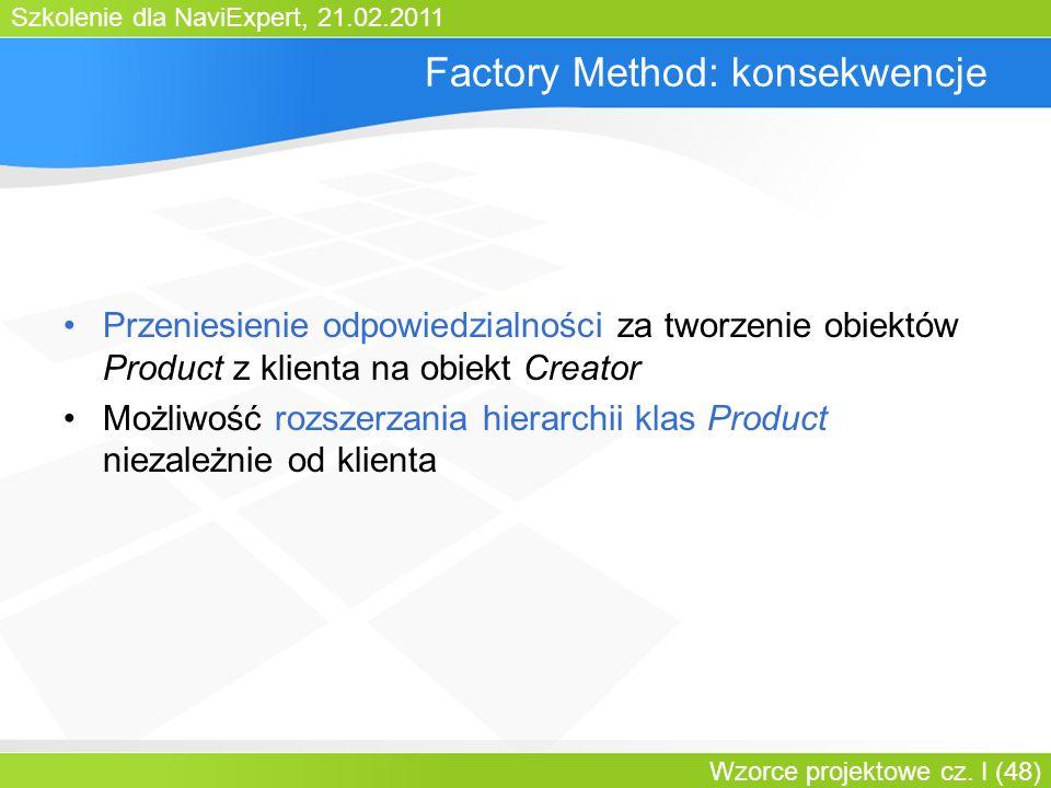 Szkolenie dla NaviExpert, 21.02.2011 Wzorce projektowe cz. I (48) Factory Method: konsekwencje Przeniesienie odpowiedzialności za tworzenie obiektów P