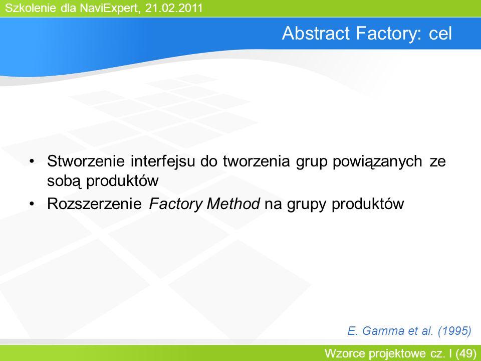 Szkolenie dla NaviExpert, 21.02.2011 Wzorce projektowe cz. I (49) Abstract Factory: cel Stworzenie interfejsu do tworzenia grup powiązanych ze sobą pr