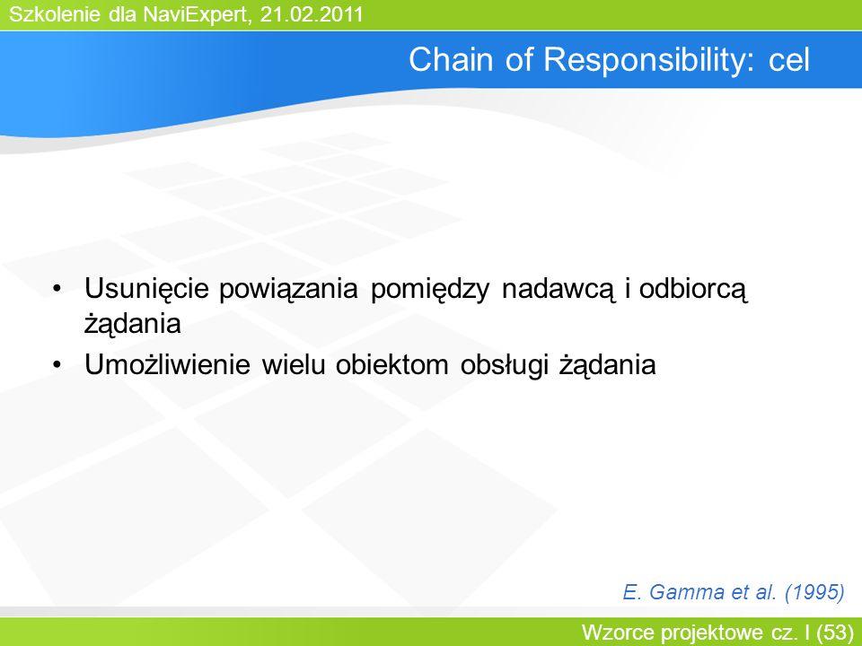 Szkolenie dla NaviExpert, 21.02.2011 Wzorce projektowe cz. I (53) Chain of Responsibility: cel Usunięcie powiązania pomiędzy nadawcą i odbiorcą żądani
