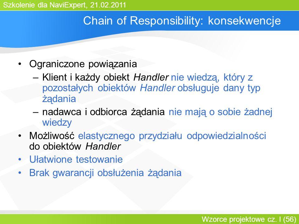 Szkolenie dla NaviExpert, 21.02.2011 Wzorce projektowe cz. I (56) Chain of Responsibility: konsekwencje Ograniczone powiązania –Klient i każdy obiekt