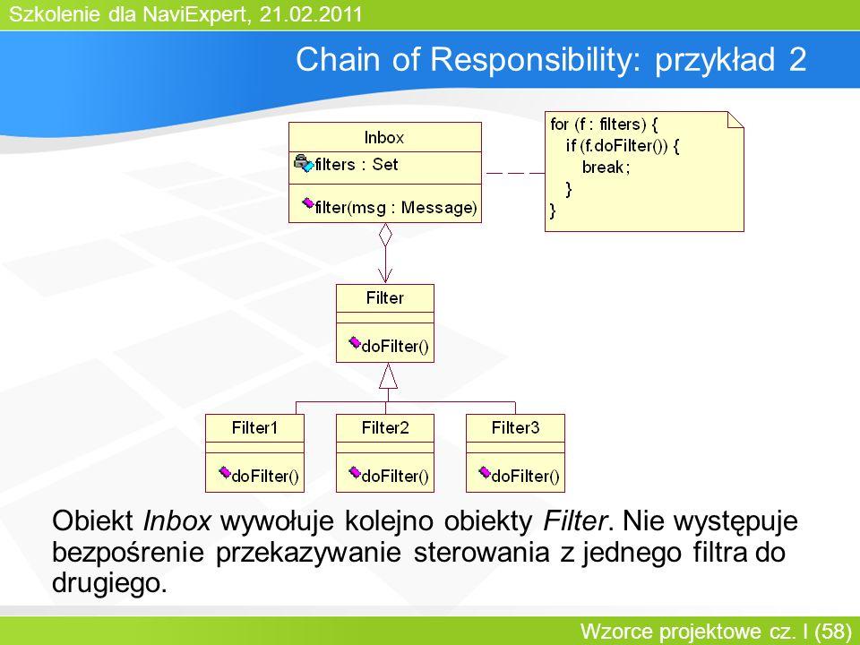 Szkolenie dla NaviExpert, 21.02.2011 Wzorce projektowe cz. I (58) Chain of Responsibility: przykład 2 Obiekt Inbox wywołuje kolejno obiekty Filter. Ni