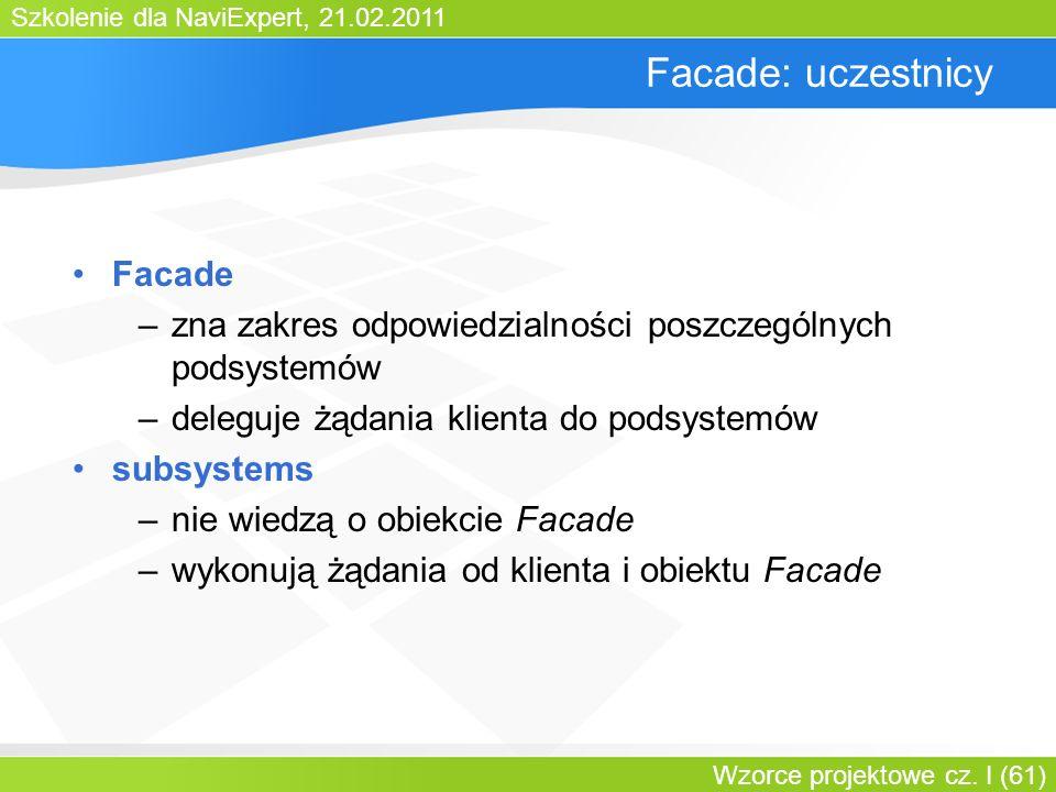 Szkolenie dla NaviExpert, 21.02.2011 Wzorce projektowe cz. I (61) Facade: uczestnicy Facade –zna zakres odpowiedzialności poszczególnych podsystemów –