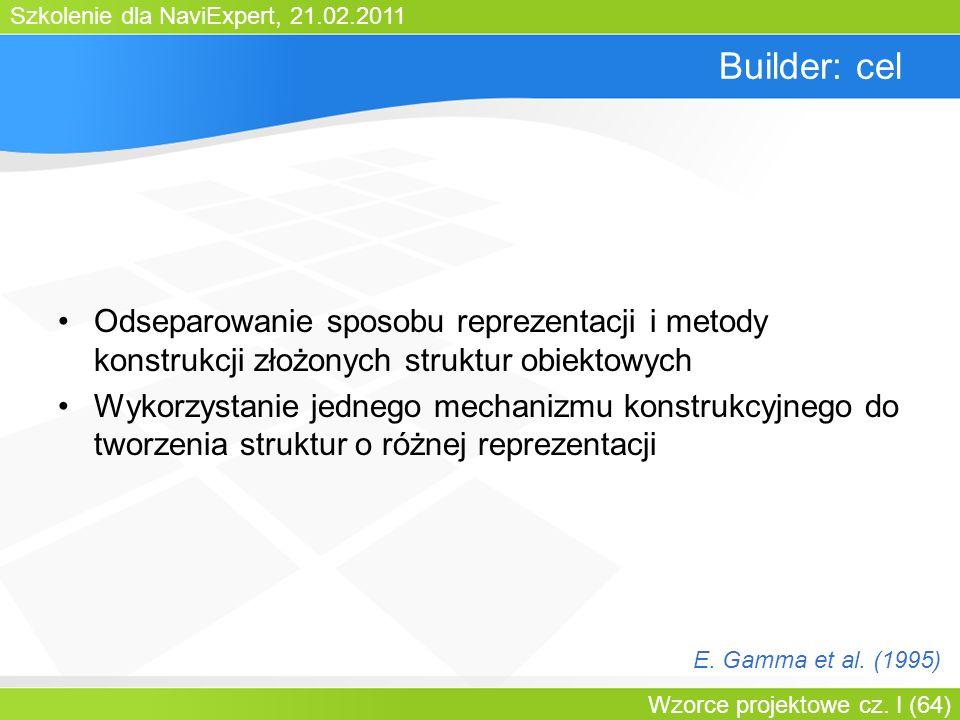 Szkolenie dla NaviExpert, 21.02.2011 Wzorce projektowe cz. I (64) Builder: cel Odseparowanie sposobu reprezentacji i metody konstrukcji złożonych stru