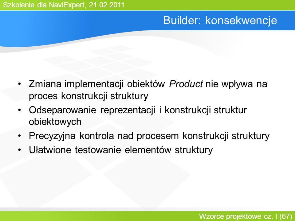 Szkolenie dla NaviExpert, 21.02.2011 Wzorce projektowe cz. I (67) Builder: konsekwencje Zmiana implementacji obiektów Product nie wpływa na proces kon