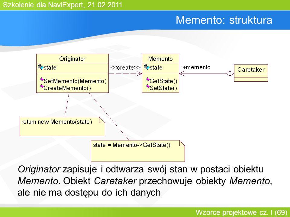 Szkolenie dla NaviExpert, 21.02.2011 Wzorce projektowe cz. I (69) Memento: struktura Originator zapisuje i odtwarza swój stan w postaci obiektu Mement