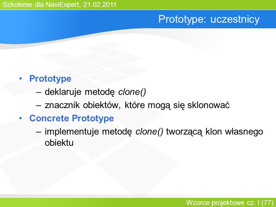 Szkolenie dla NaviExpert, 21.02.2011 Wzorce projektowe cz. I (77) Prototype: uczestnicy Prototype –deklaruje metodę clone() –znacznik obiektów, które