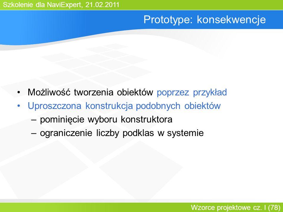 Szkolenie dla NaviExpert, 21.02.2011 Wzorce projektowe cz. I (78) Prototype: konsekwencje Możliwość tworzenia obiektów poprzez przykład Uproszczona ko