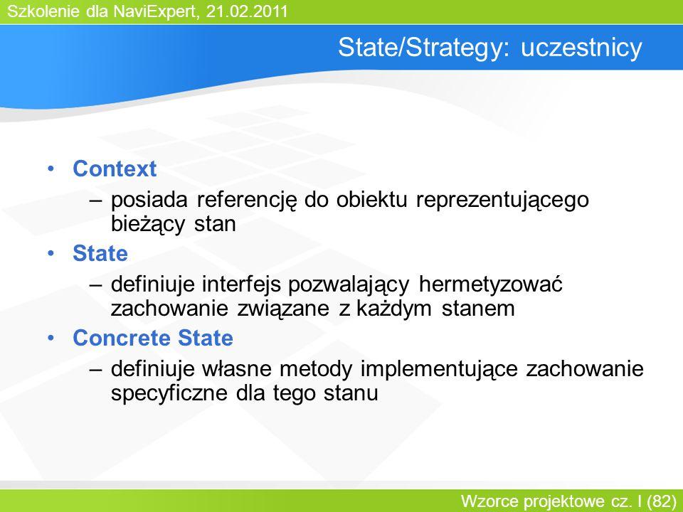 Szkolenie dla NaviExpert, 21.02.2011 Wzorce projektowe cz. I (82) State/Strategy: uczestnicy Context –posiada referencję do obiektu reprezentującego b