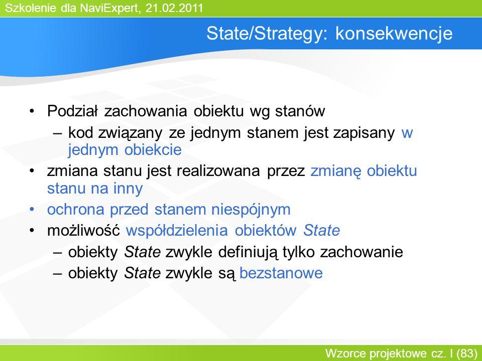 Szkolenie dla NaviExpert, 21.02.2011 Wzorce projektowe cz. I (83) State/Strategy: konsekwencje Podział zachowania obiektu wg stanów –kod związany ze j