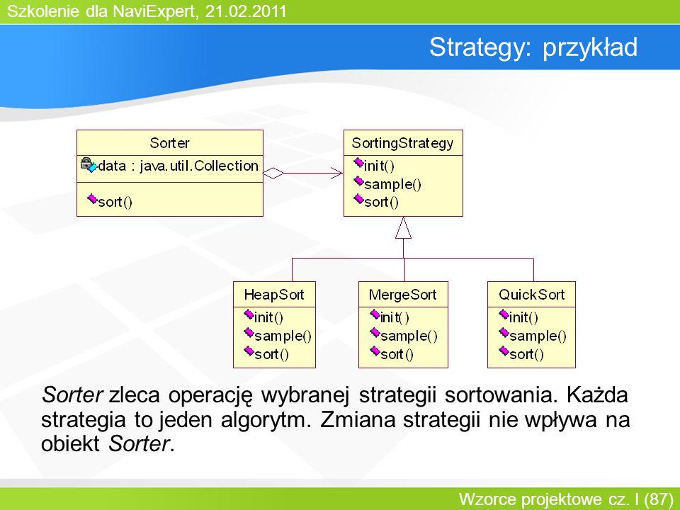 Szkolenie dla NaviExpert, 21.02.2011 Wzorce projektowe cz. I (87) Strategy: przykład Sorter zleca operację wybranej strategii sortowania. Każda strate