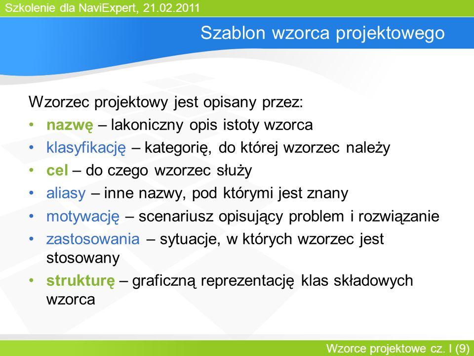 Szkolenie dla NaviExpert, 21.02.2011 Wzorce projektowe cz. I (9) Szablon wzorca projektowego Wzorzec projektowy jest opisany przez: nazwę – lakoniczny