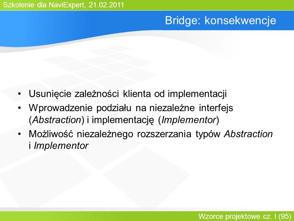 Szkolenie dla NaviExpert, 21.02.2011 Wzorce projektowe cz. I (95) Bridge: konsekwencje Usunięcie zależności klienta od implementacji Wprowadzenie podz