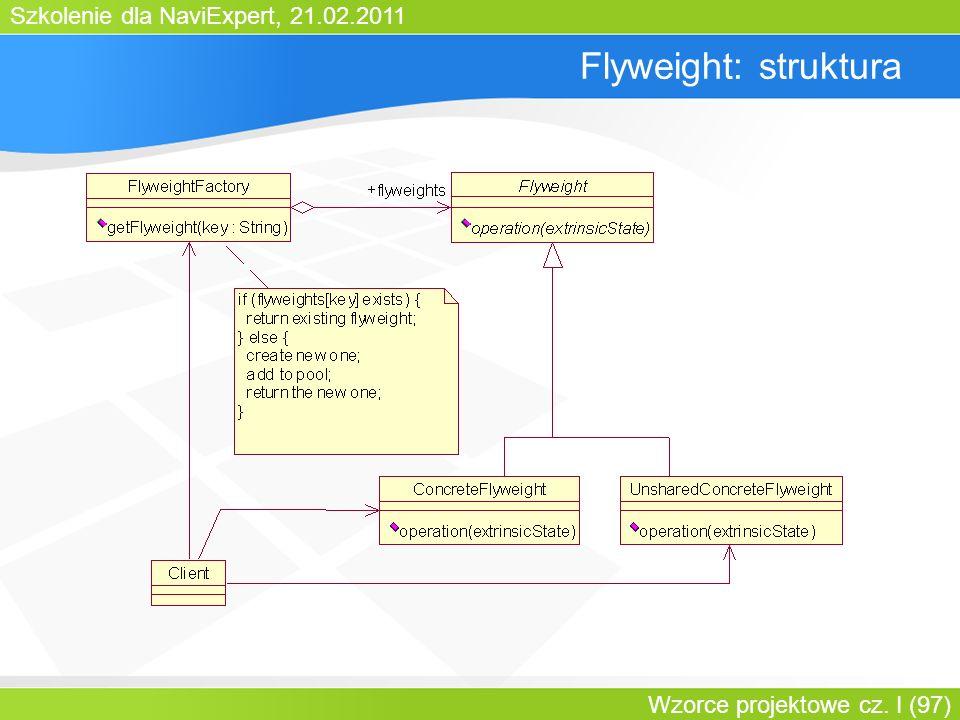 Szkolenie dla NaviExpert, 21.02.2011 Wzorce projektowe cz. I (97) Flyweight: struktura