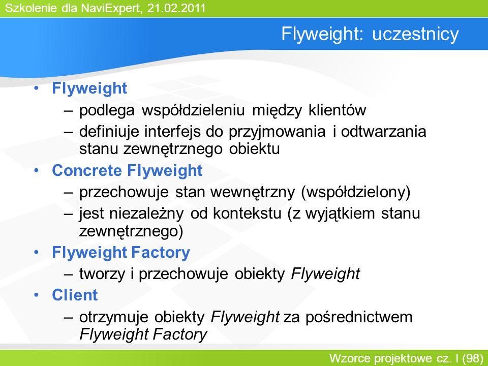 Szkolenie dla NaviExpert, 21.02.2011 Wzorce projektowe cz. I (98) Flyweight: uczestnicy Flyweight –podlega współdzieleniu między klientów –definiuje i