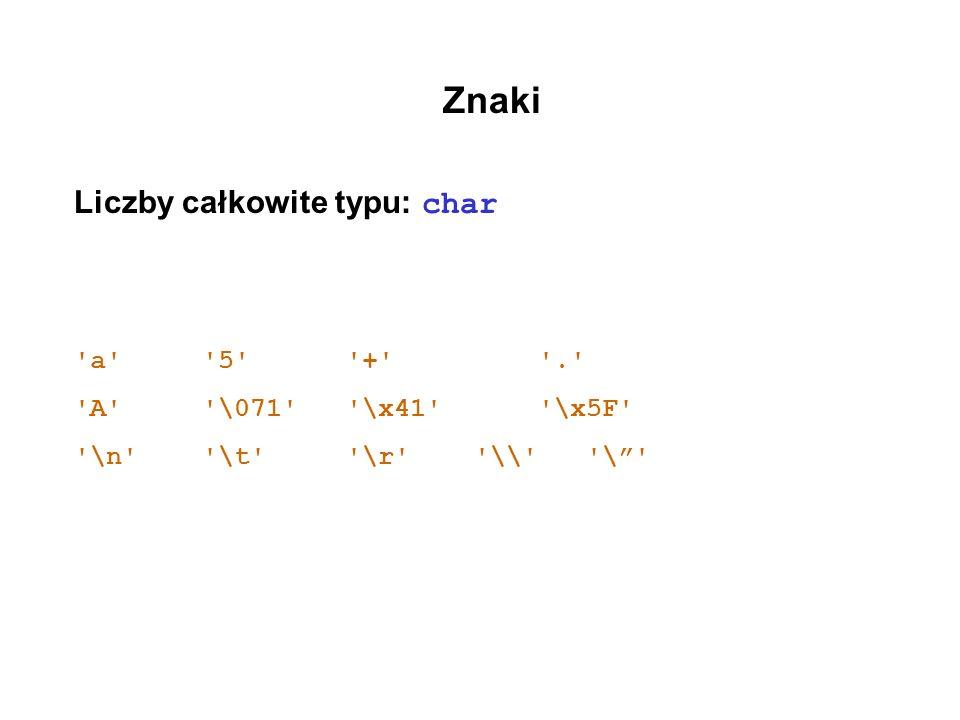 Znaki Liczby całkowite typu: char 'a' '5' '+' '.' 'A' '\071' '\x41' '\x5F' '\n' '\t' '\r' '\\' '\'