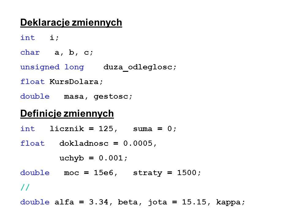 Deklaracje zmiennych int i; char a, b, c; unsigned long duza_odleglosc; float KursDolara; double masa, gestosc; Definicje zmiennych int licznik = 125,