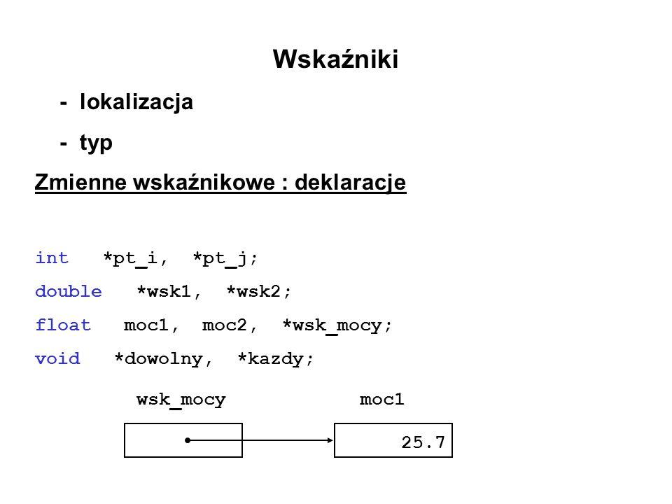 Wskaźniki - lokalizacja - typ Zmienne wskaźnikowe : deklaracje int *pt_i, *pt_j; double *wsk1, *wsk2; float moc1, moc2, *wsk_mocy; void *dowolny, *kaz
