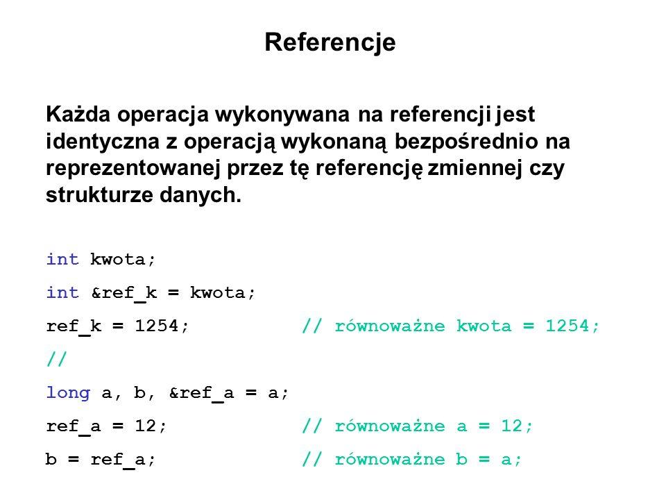 Referencje Każda operacja wykonywana na referencji jest identyczna z operacją wykonaną bezpośrednio na reprezentowanej przez tę referencję zmiennej cz