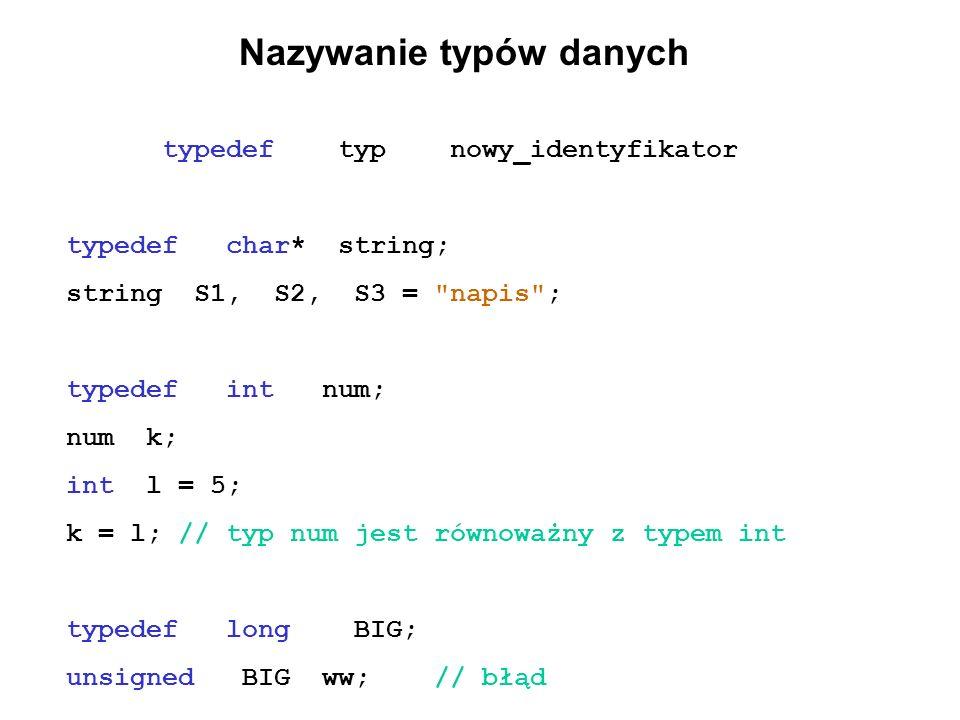 Nazywanie typów danych typedef typ nowy_identyfikator typedef char* string; string S1, S2, S3 =