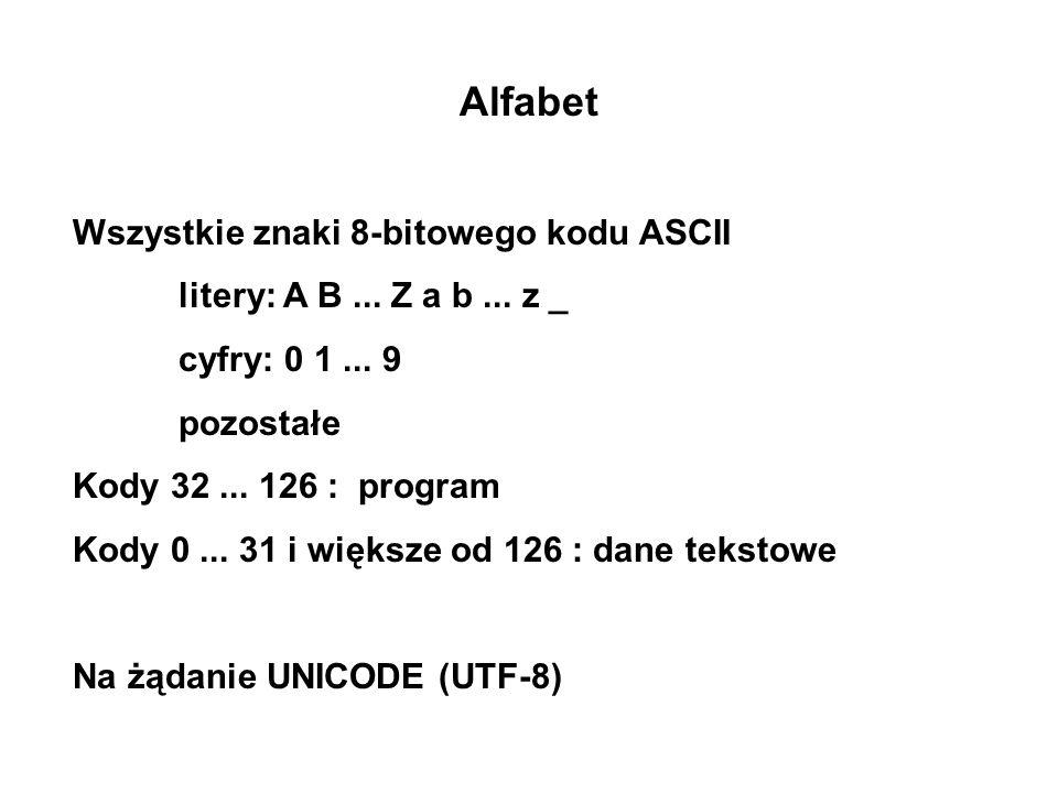 Alfabet Wszystkie znaki 8-bitowego kodu ASCII litery: A B... Z a b... z _ cyfry: 0 1... 9 pozostałe Kody 32... 126 : program Kody 0... 31 i większe od