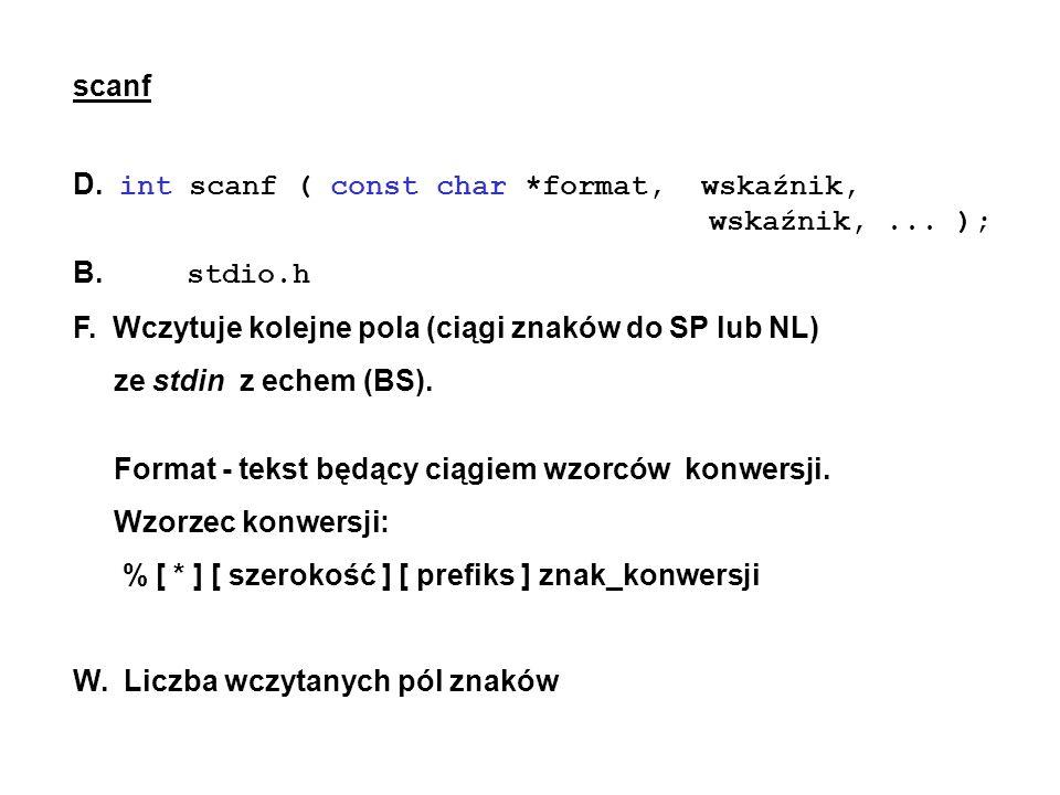 scanf D. int scanf ( const char *format, wskaźnik, wskaźnik,... ); B. stdio.h F. Wczytuje kolejne pola (ciągi znaków do SP lub NL) ze stdin z echem (B