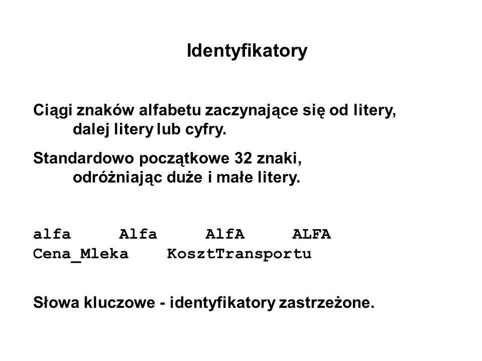Identyfikatory Ciągi znaków alfabetu zaczynające się od litery, dalej litery lub cyfry. Standardowo początkowe 32 znaki, odróżniając duże i małe liter