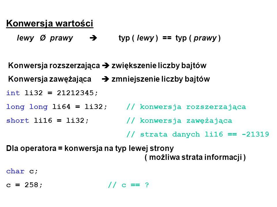 Konwersja wartości lewy Ø prawy typ ( lewy ) == typ ( prawy ) Konwersja rozszerzająca zwiększenie liczby bajtów Konwersja zawężająca zmniejszenie licz