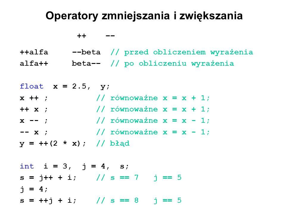 Operatory zmniejszania i zwiększania ++–– ++alfa ––beta // przed obliczeniem wyrażenia alfa++ beta–– // po obliczeniu wyrażenia float x = 2.5, y; x ++
