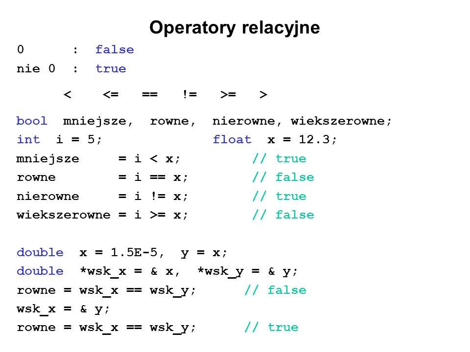 Operatory relacyjne 0 : false nie 0 : true = > bool mniejsze, rowne, nierowne, wiekszerowne; int i = 5; float x = 12.3; mniejsze = i < x;// true rowne