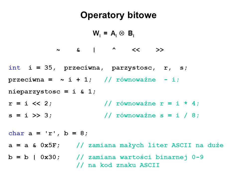Operatory bitowe W i = A i B i ~ & | ^ > int i = 35, przeciwna, parzystosc, r, s; przeciwna = ~ i + 1; // równoważne - i; nieparzystosc = i & 1; r = i