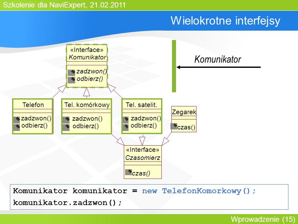 Szkolenie dla NaviExpert, 21.02.2011 Wprowadzenie (15) Wielokrotne interfejsy Komunikator zadzwon() odbierz() «Interface» TelefonTel.