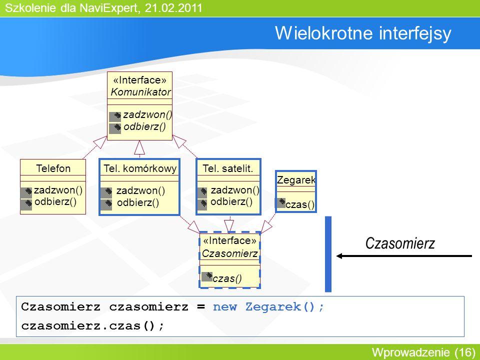 Szkolenie dla NaviExpert, 21.02.2011 Wprowadzenie (16) Wielokrotne interfejsy Komunikator zadzwon() odbierz() «Interface» TelefonTel.