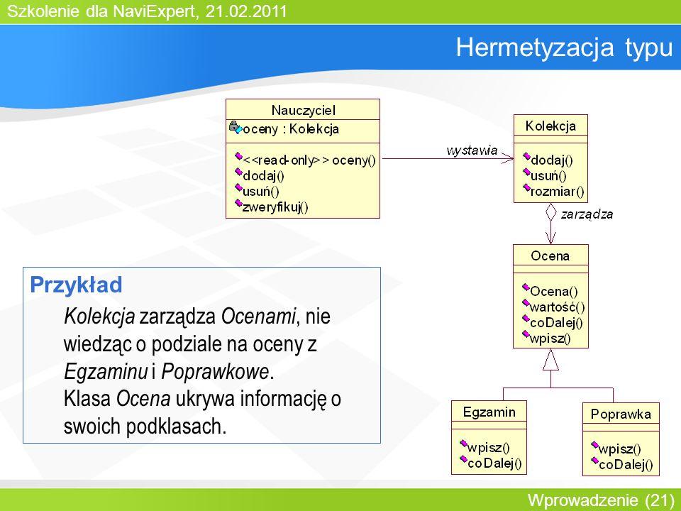 Szkolenie dla NaviExpert, 21.02.2011 Wprowadzenie (21) Hermetyzacja typu Przykład Kolekcja zarządza Ocenami, nie wiedząc o podziale na oceny z Egzaminu i Poprawkowe.