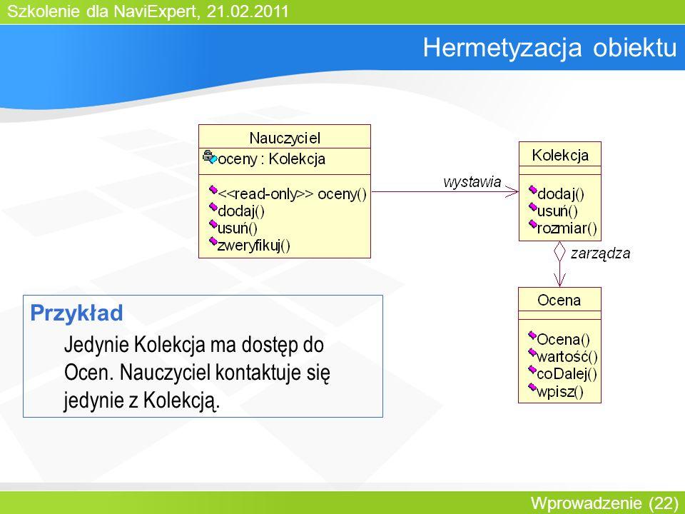 Szkolenie dla NaviExpert, 21.02.2011 Wprowadzenie (22) Hermetyzacja obiektu Przykład Jedynie Kolekcja ma dostęp do Ocen.