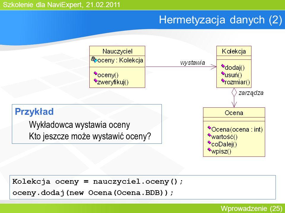 Szkolenie dla NaviExpert, 21.02.2011 Wprowadzenie (25) Hermetyzacja danych (2) Przykład Wykładowca wystawia oceny Kto jeszcze może wystawić oceny.