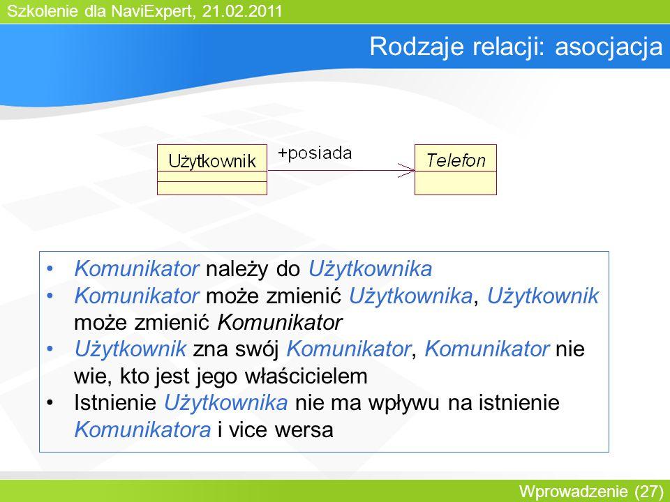 Szkolenie dla NaviExpert, 21.02.2011 Wprowadzenie (27) Rodzaje relacji: asocjacja Komunikator należy do Użytkownika Komunikator może zmienić Użytkownika, Użytkownik może zmienić Komunikator Użytkownik zna swój Komunikator, Komunikator nie wie, kto jest jego właścicielem Istnienie Użytkownika nie ma wpływu na istnienie Komunikatora i vice wersa