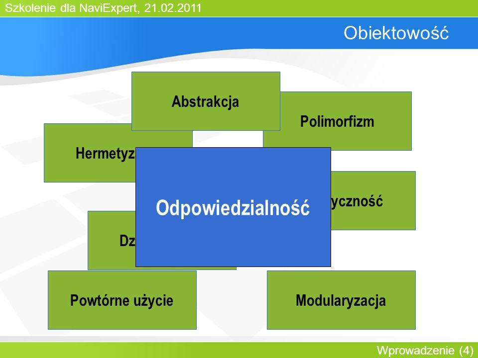 Szkolenie dla NaviExpert, 21.02.2011 Wprowadzenie (4) Obiektowość Hermetyzacja Polimorfizm Dziedziczenie Abstrakcja Elastyczność ModularyzacjaPowtórne użycie Odpowiedzialność