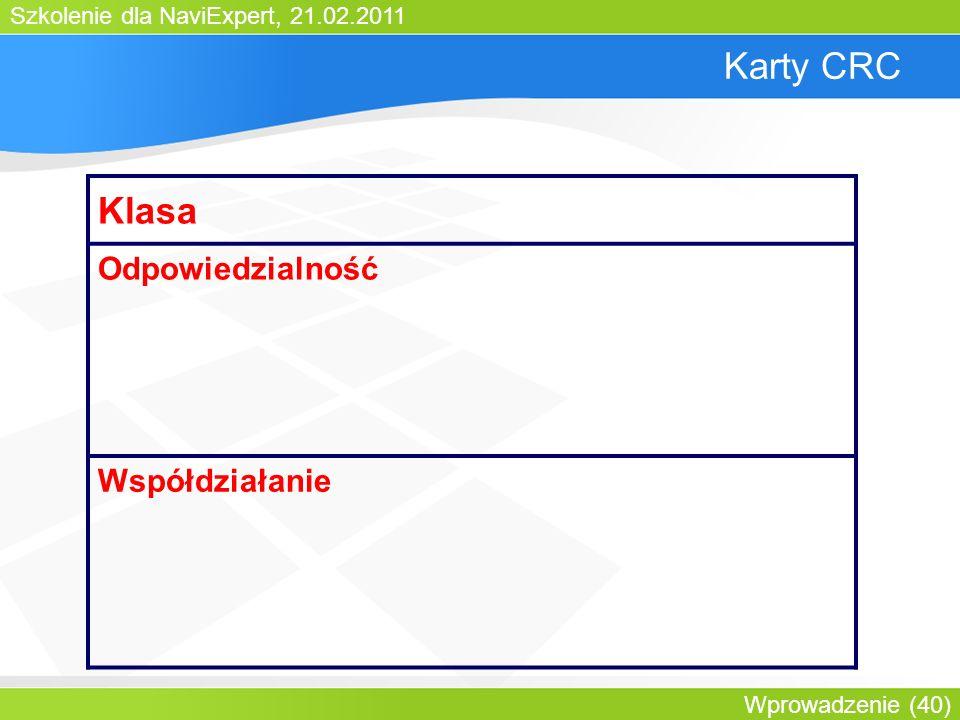 Szkolenie dla NaviExpert, 21.02.2011 Wprowadzenie (40) Karty CRC Klasa Odpowiedzialność Współdziałanie