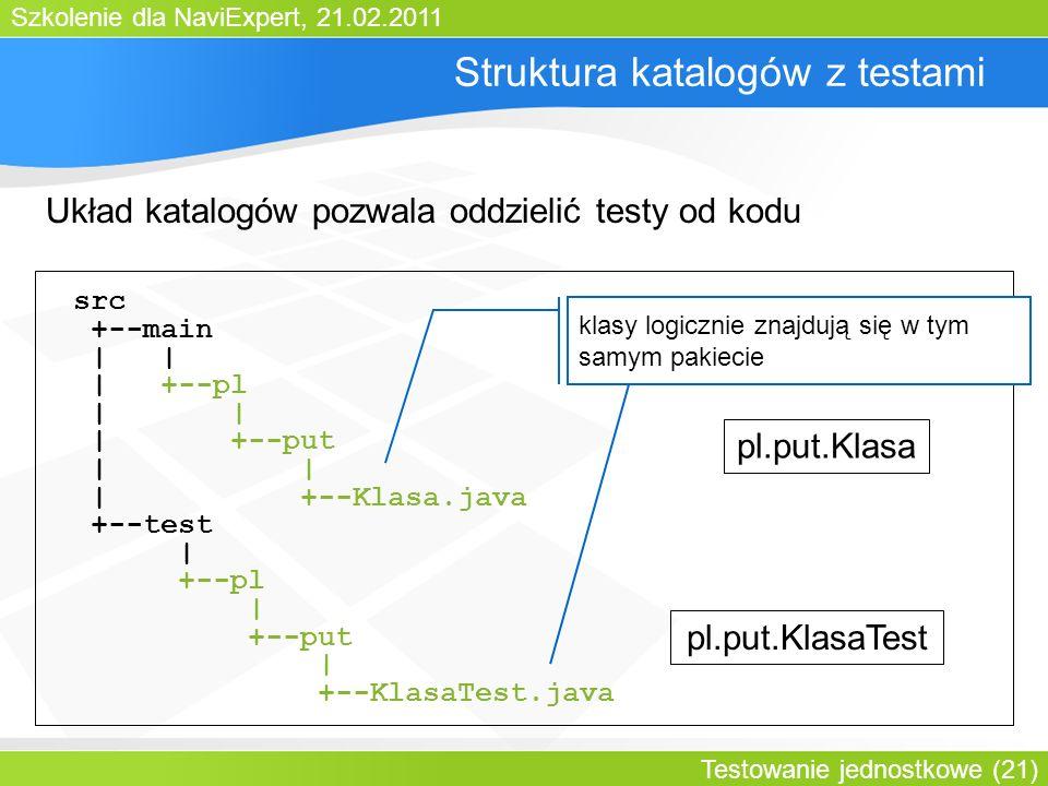 Szkolenie dla NaviExpert, 21.02.2011 Testowanie jednostkowe (21) Struktura katalogów z testami Układ katalogów pozwala oddzielić testy od kodu src +--main | | | +--pl | | | +--put | | | +--Klasa.java +--test | +--pl | +--put | +--KlasaTest.java pl.put.Klasa pl.put.KlasaTest klasy logicznie znajdują się w tym samym pakiecie