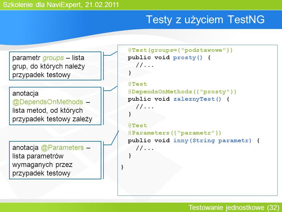 Szkolenie dla NaviExpert, 21.02.2011 Testowanie jednostkowe (32) Testy z użyciem TestNG @Test(groups={ podstawowe }) public void prosty() { //...