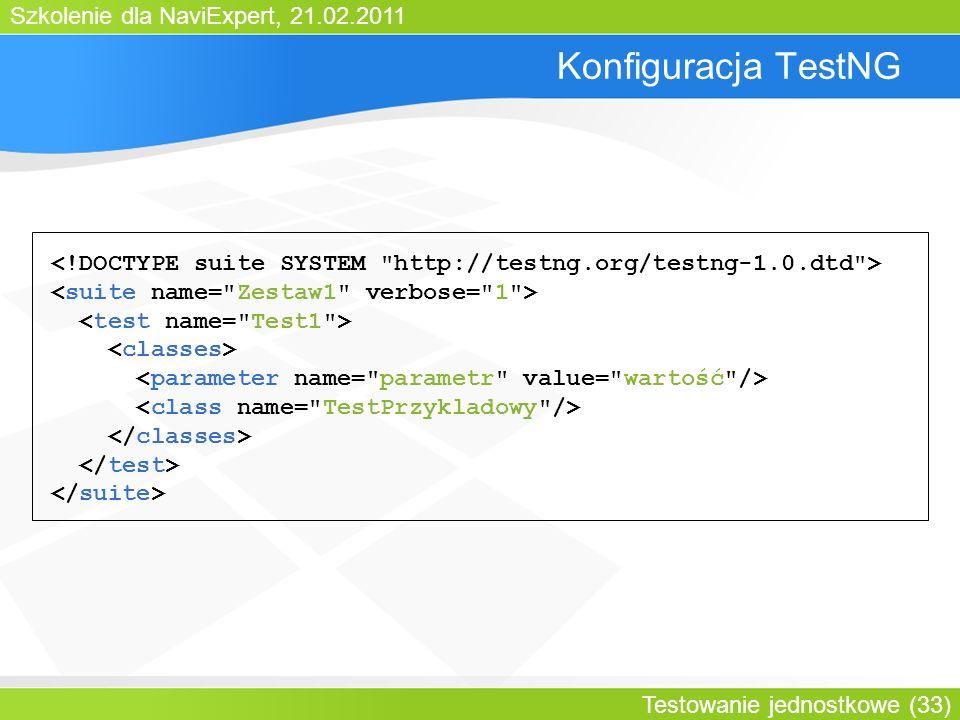 Szkolenie dla NaviExpert, 21.02.2011 Testowanie jednostkowe (33) Konfiguracja TestNG