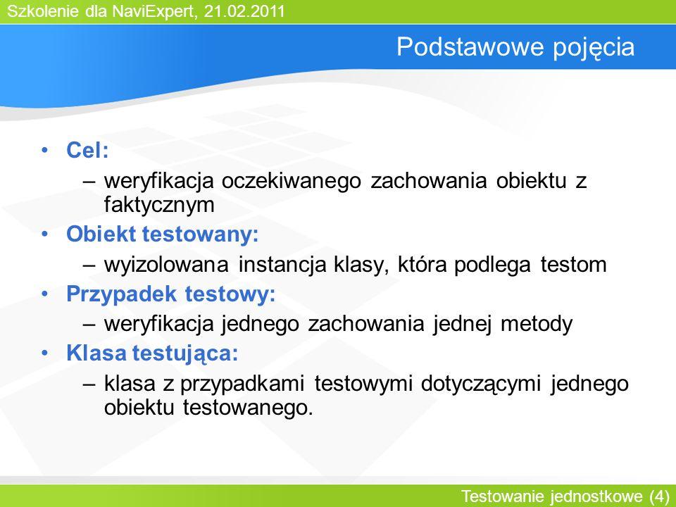 Szkolenie dla NaviExpert, 21.02.2011 Testowanie jednostkowe (5) Agenda Testowanie jednostkowe Biblioteka JUnit 3.8 Biblioteka JUnit 4.0 Biblioteka TestNG Obiekty zastępcze