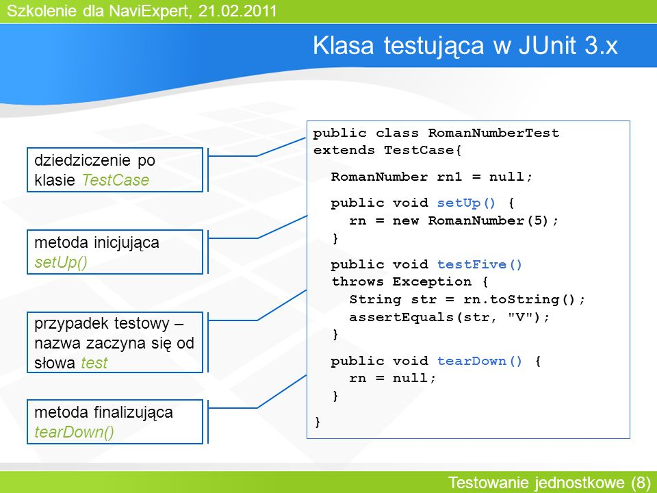 Szkolenie dla NaviExpert, 21.02.2011 Testowanie jednostkowe (8) Klasa testująca w JUnit 3.x public class RomanNumberTest extends TestCase{ RomanNumber rn1 = null; public void setUp() { rn = new RomanNumber(5); } public void testFive() throws Exception { String str = rn.toString(); assertEquals(str, V ); } public void tearDown() { rn = null; } } dziedziczenie po klasie TestCase metoda inicjująca setUp() przypadek testowy – nazwa zaczyna się od słowa test metoda finalizująca tearDown()