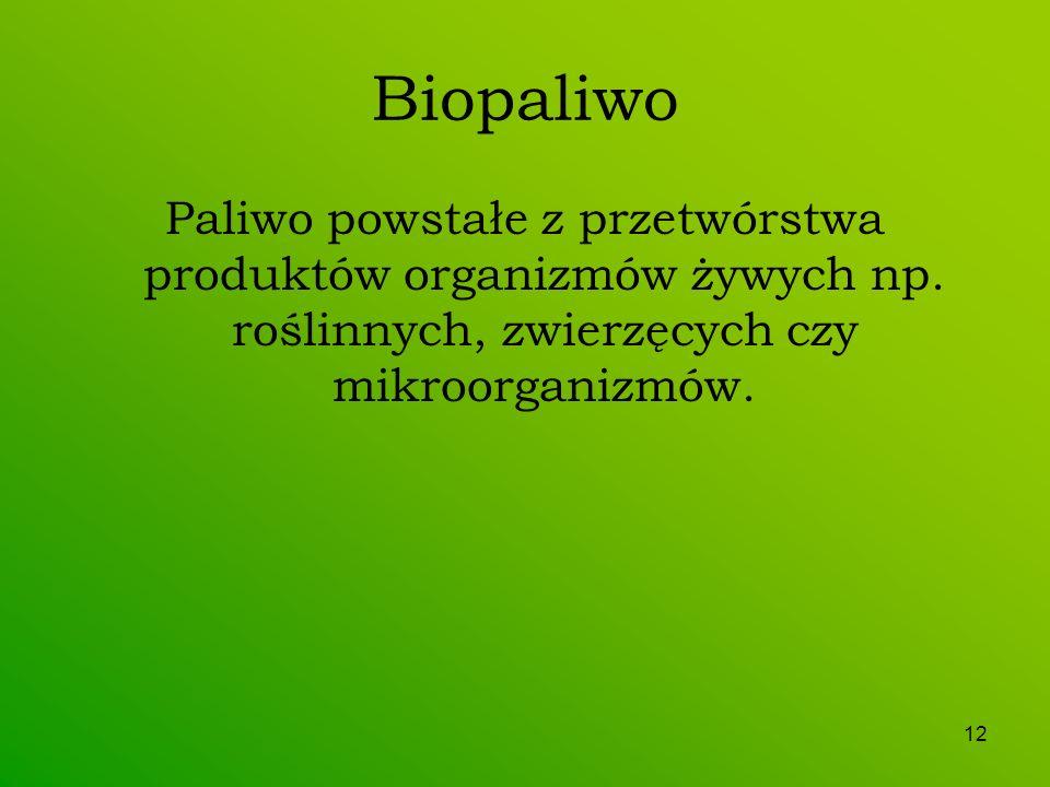 12 Biopaliwo Paliwo powstałe z przetwórstwa produktów organizmów żywych np. roślinnych, zwierzęcych czy mikroorganizmów.