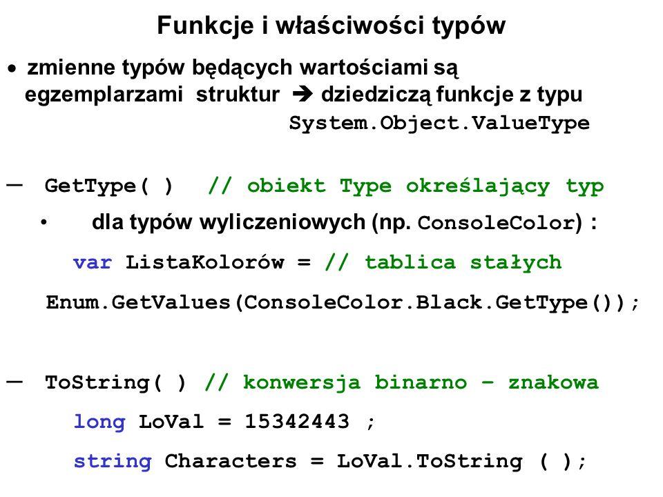 Funkcje i właściwości typów zmienne typów będących wartościami są egzemplarzami struktur dziedziczą funkcje z typu System.Object.ValueType GetType( )