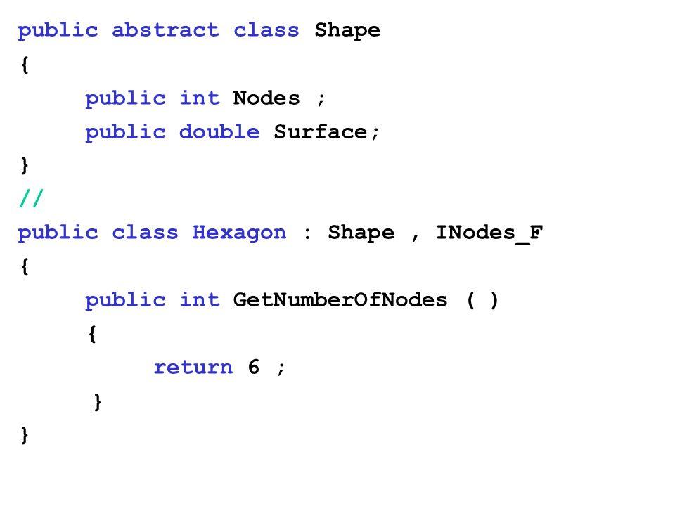public abstract class Shape { public int Nodes ; public double Surface; } // public class Hexagon : Shape, INodes_F { public int GetNumberOfNodes ( )